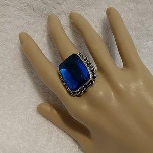 SS Sapphire colored large Quartz Ring size 9.5